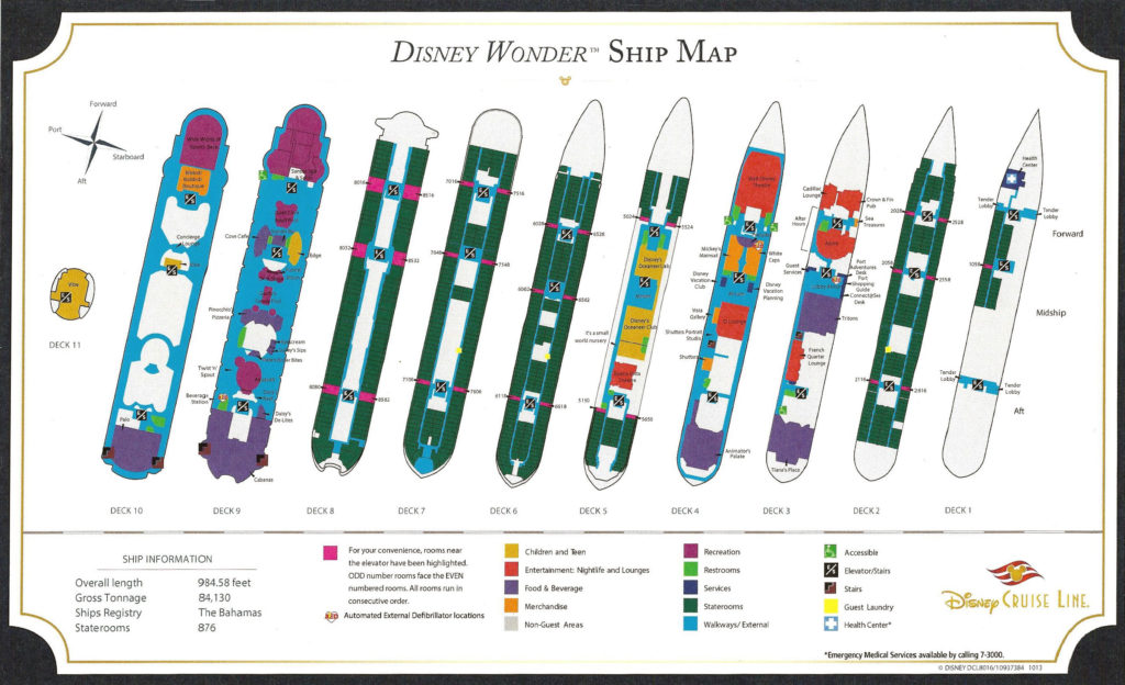 Disney Wonder Post 2019 Dry Dock Ship Map