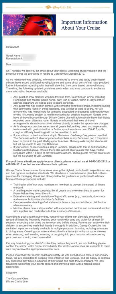 DCL Coronavirus COVID 19 Email 20200229