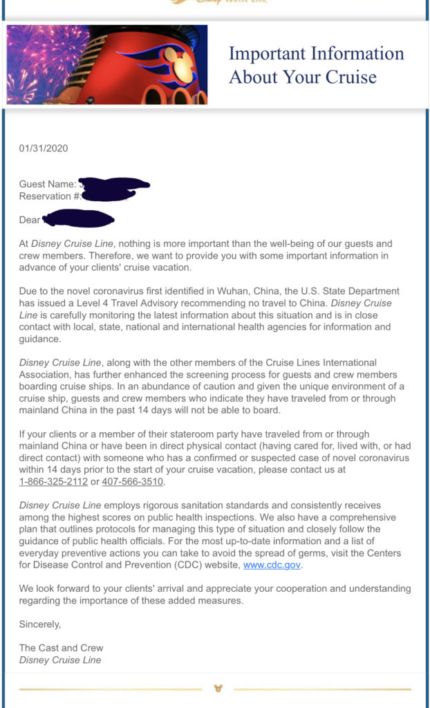 DCL Coronavirus Travel Agent Email 20200131