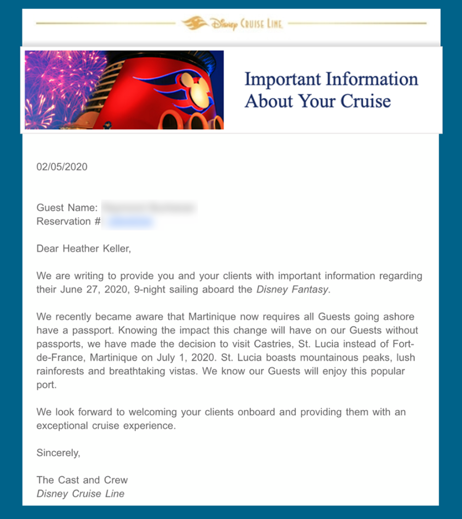 DCL Email Fantasy 20200627 Martinique Change