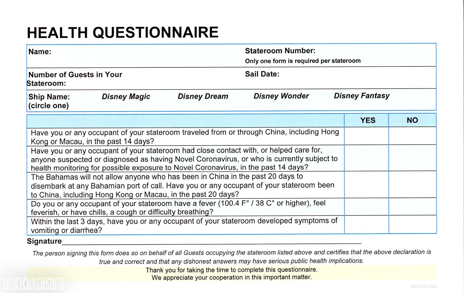 DCL Health Questionnaire Version 0009 20200220