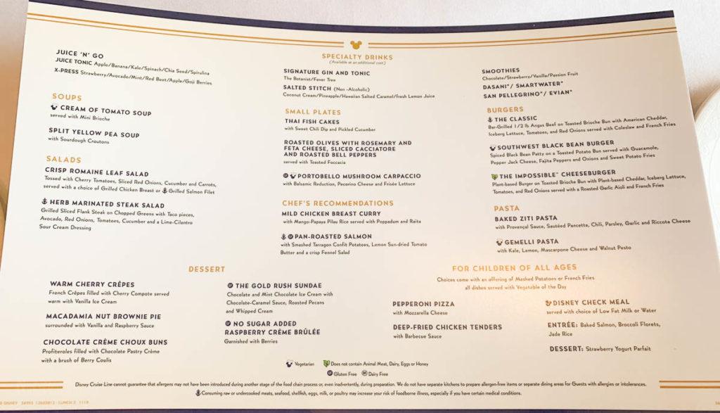 DCL MDR Lunch Menu 3 November 2019