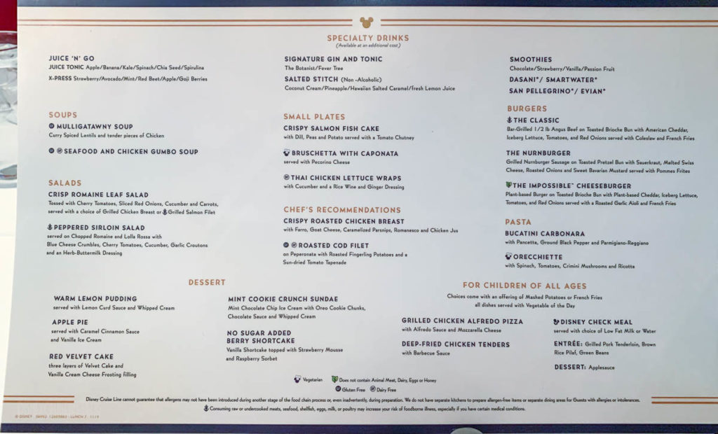 DCL MDR Lunch Menu 7 November 2019