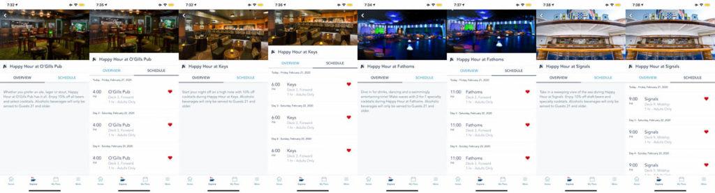 DCL Navigator App Happy Hours