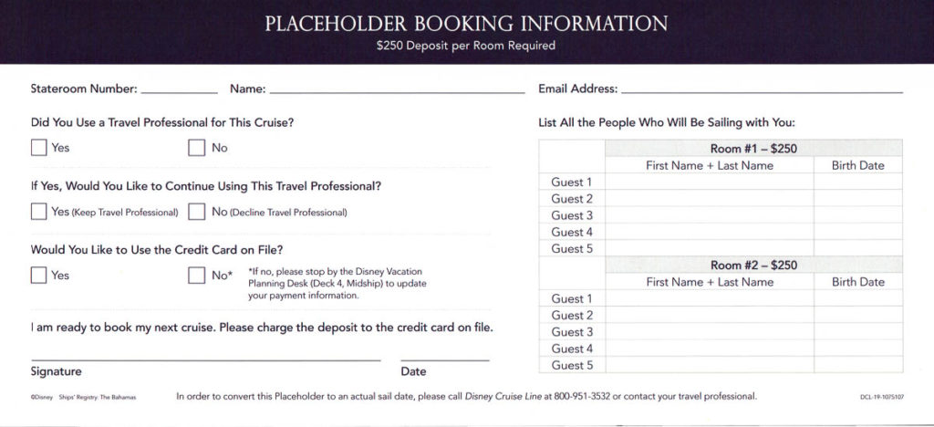 DCL Onboard Booking Placeholder Form 2020