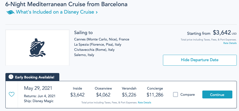 DCL Opening Day Pricing Summer 2021