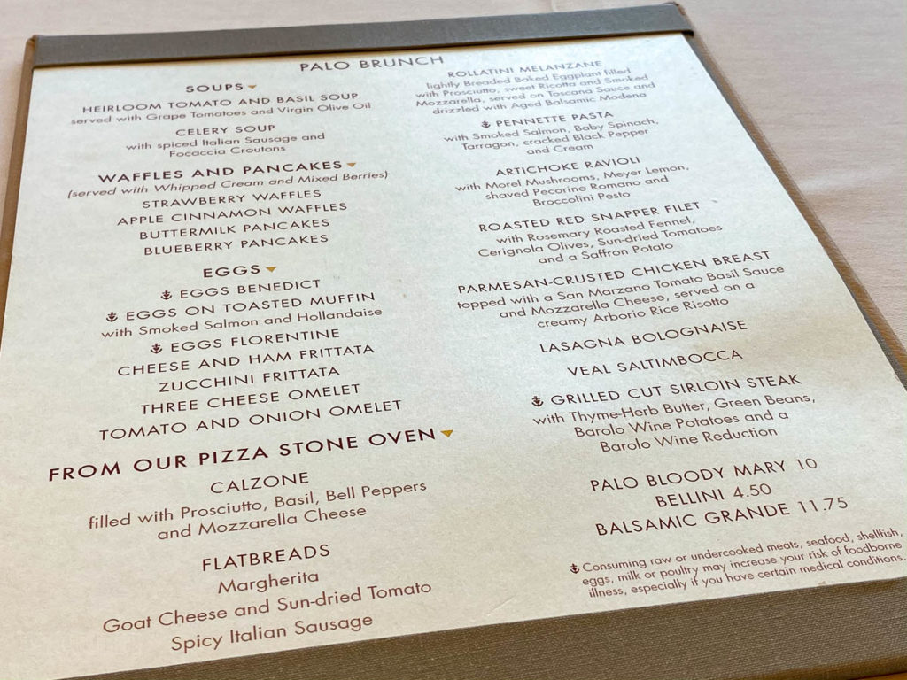 Disney Magic Palo Brunch Menu