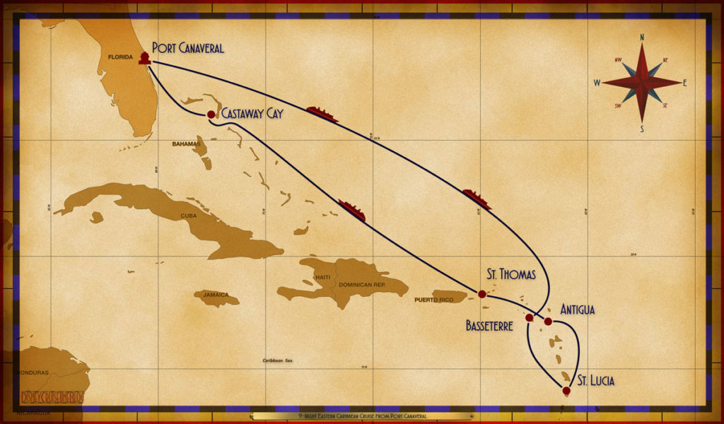 Map Fantasy 9 Night Eastern Caribbean PCV SEA SEA BAS CAS ANU STT SEA GOC