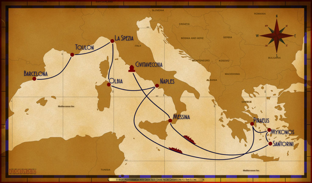 Map Magic 11 Night Greek Isles CVV MSN SEA JTR JMK ATH SEA NAP OLB SPE TLN BCN