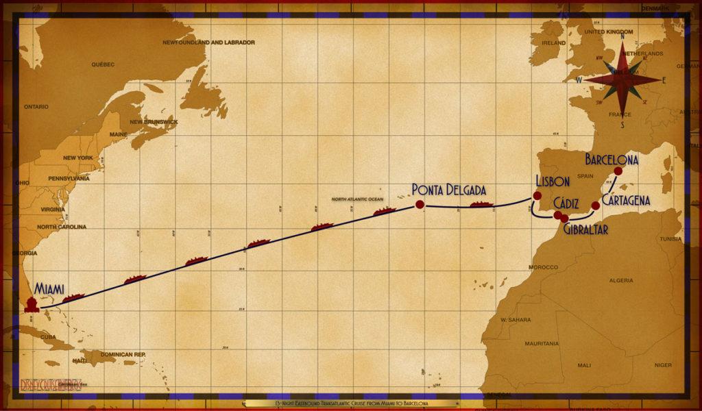 Map Magic 13 Night Transatlantic MIA SEA SEA SEA SEA SEA SEA PDG SEA LIS CAD GIB CRT BCN