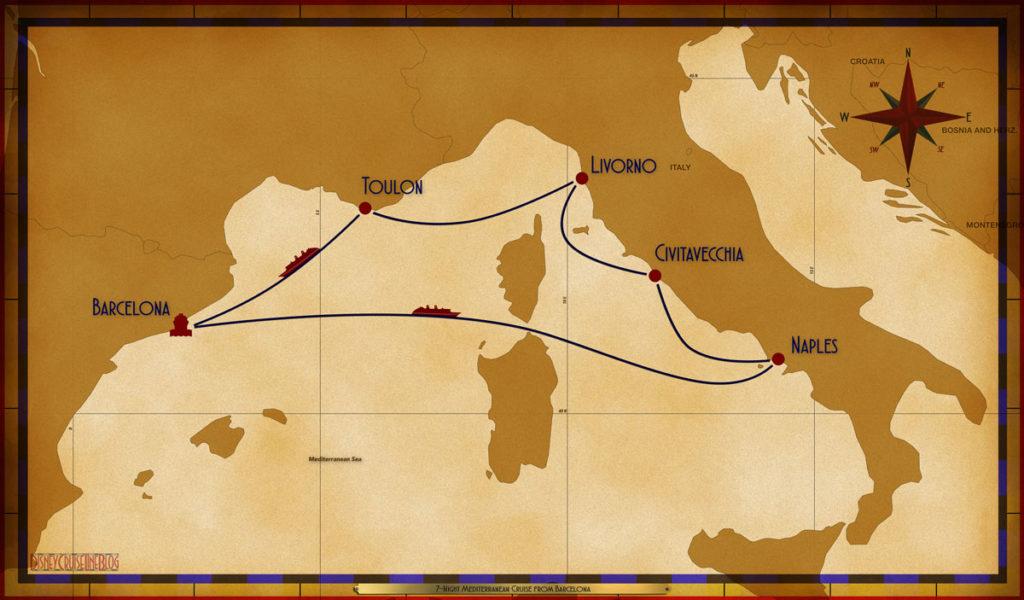 Map Magic 7 Night Mediterranean BCN SEA NAP CVV LIV TLN SEA
