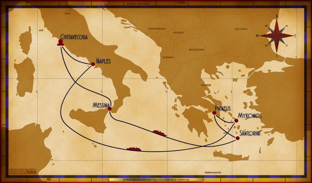 Map Magic 8 Night Greek Isles CVV MSN SEA JTR ATH JMK SEA NAP