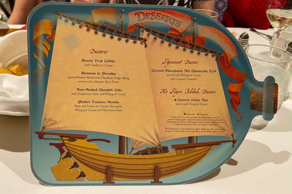 Pirate Dinner Dessert Menu