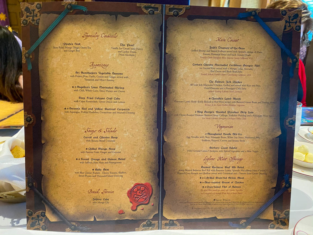 Pirate Dinner Menu