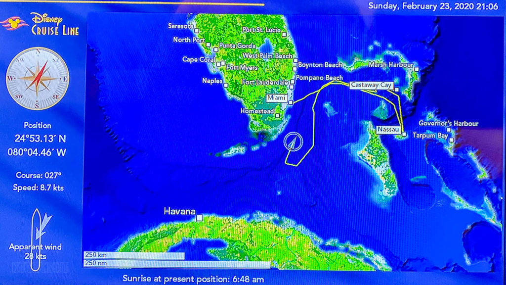 Stateroom TV Map Day 4 Sea Day Travels 20200223