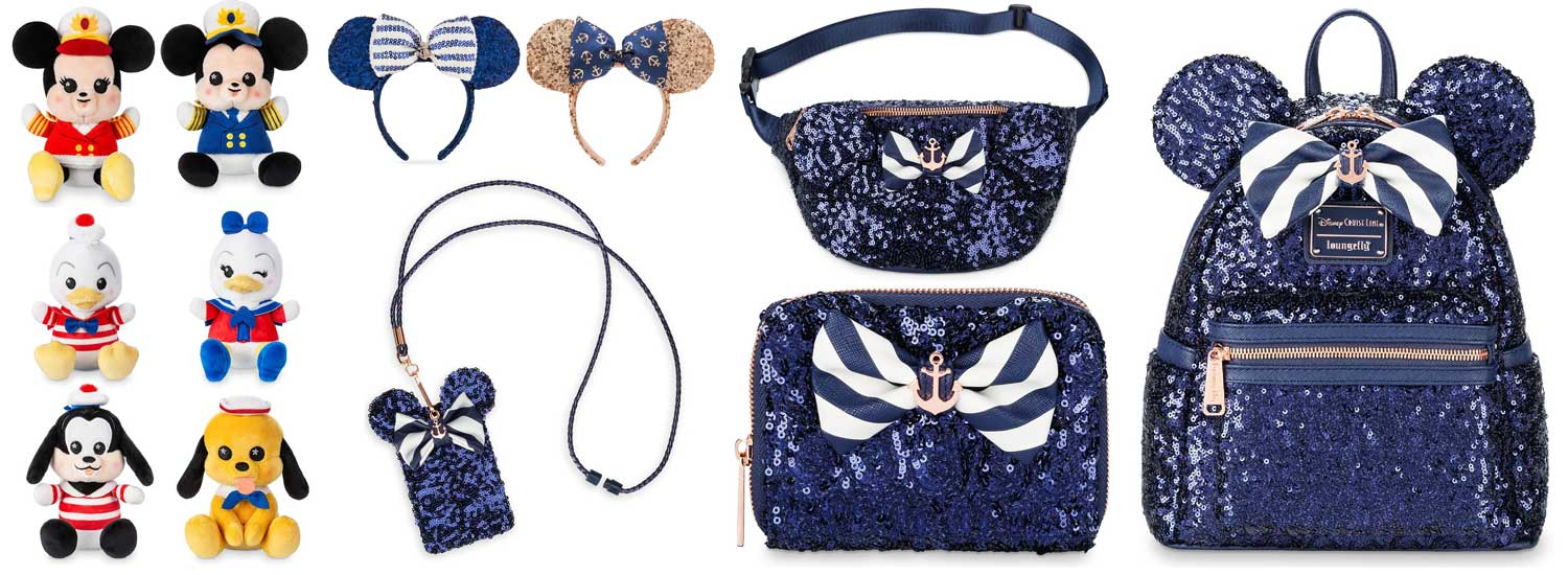 Disney Minnie Mouse Loungefly Cruise Line Navy Blue Sequined Mini Backpack