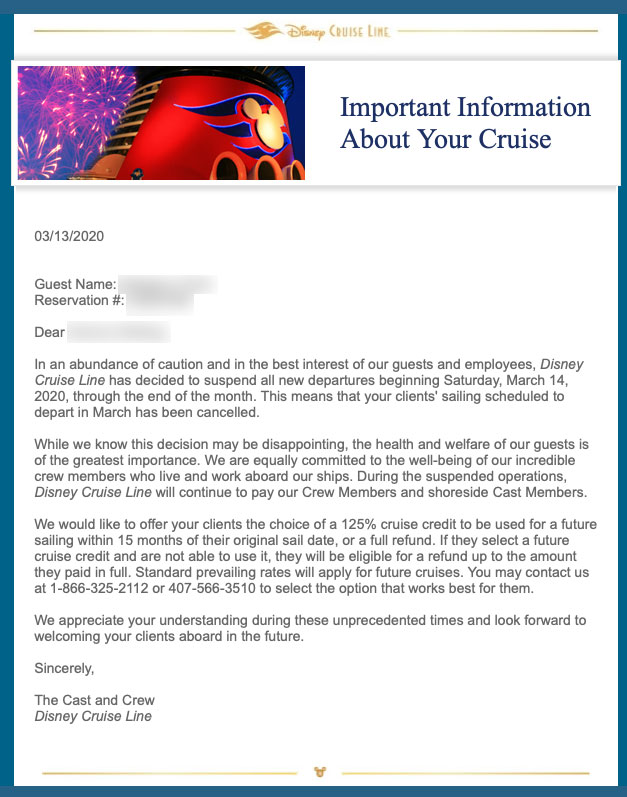 DCL TA Email Canceled Cruise Offer 20200313