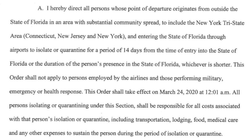 Florida Executive Order 20 80 COVID 19 Airport Screening Isolation Details