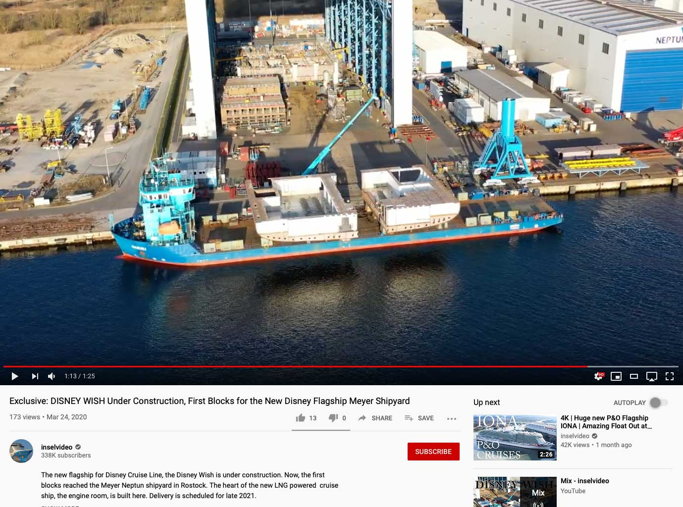 Meyer Werft Neptun Disney Wish YouTube Inselvideo