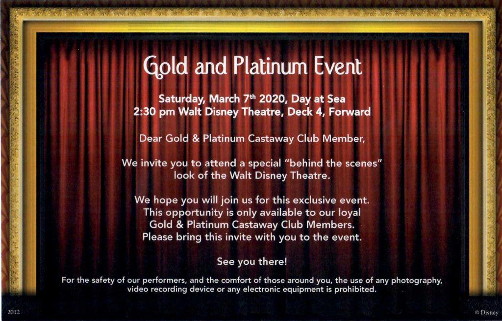 Wonder 2020 WBPC Gold Platinum Castaway Club Reception