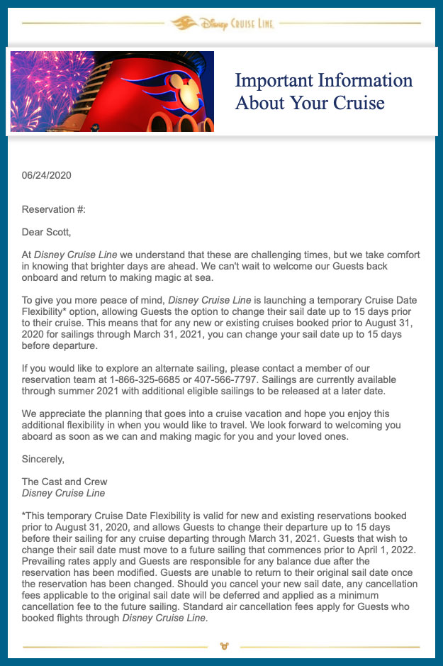 DCL Email Cruise Date Flexibility 20200624