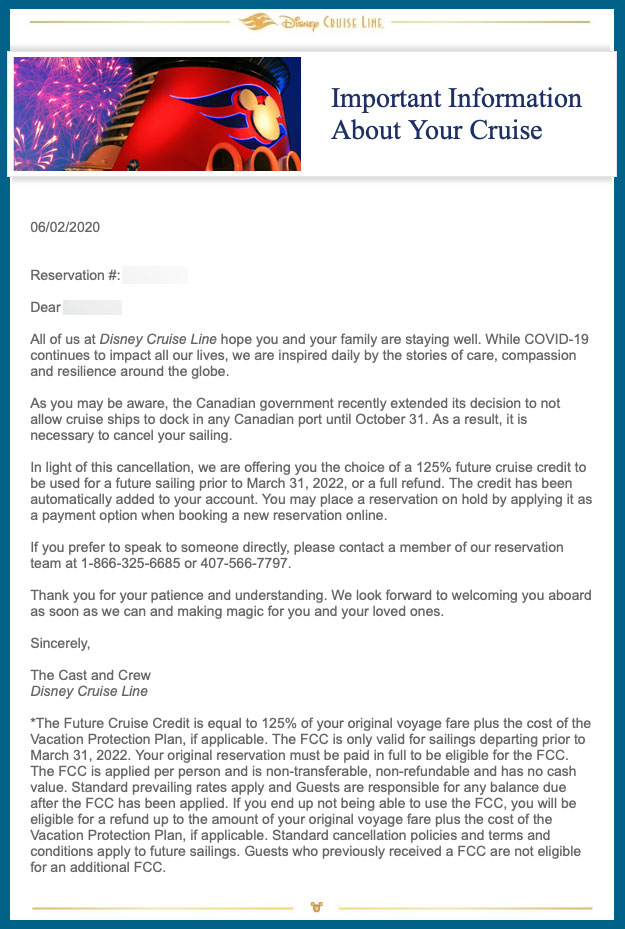 DCL Guest Email Canada Closure Cruise Cancelled 20200602