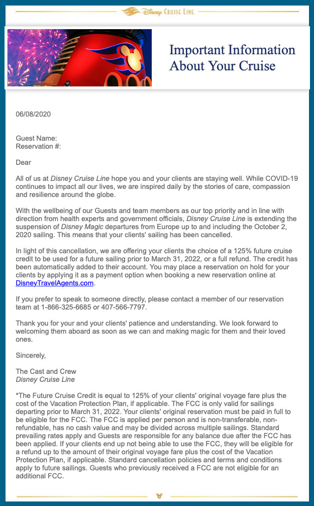 DCL TA Email Magic Cancellations 20200608