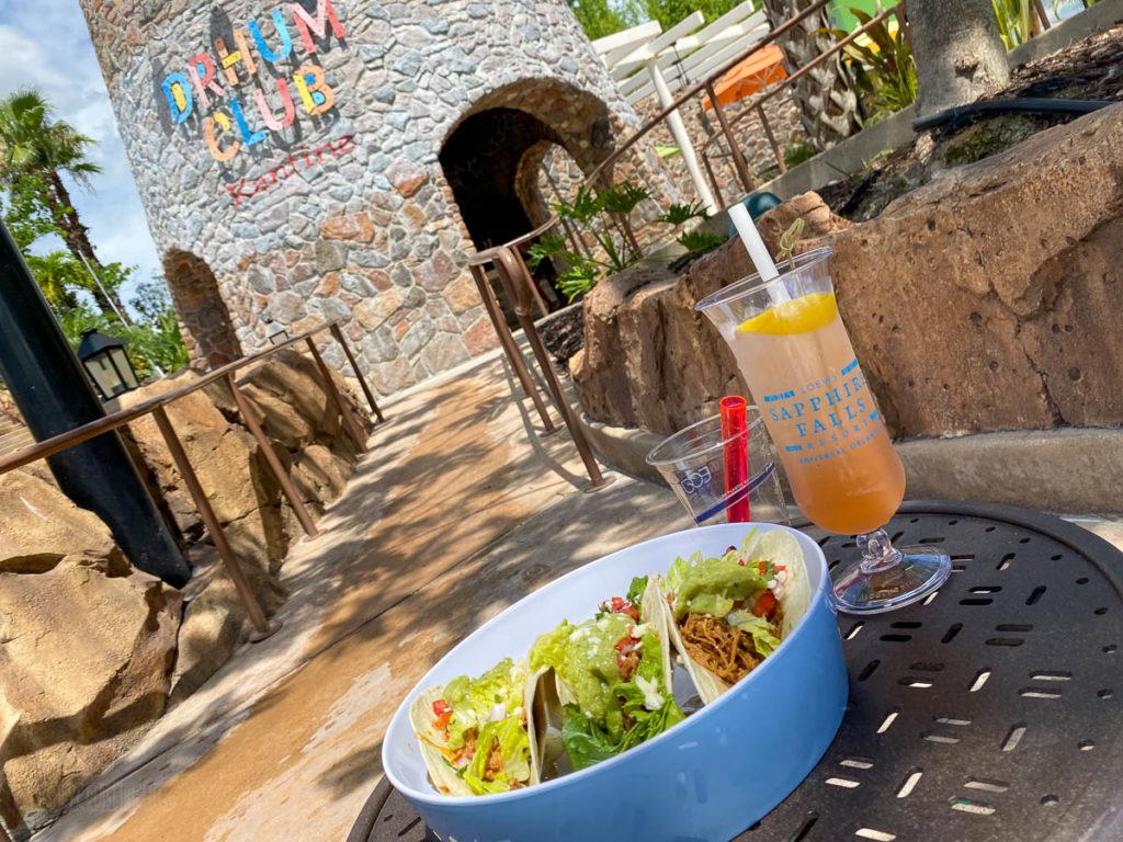 Sapphire Falls Pool Drhum Club Bar Adobo Chicken Tacos
