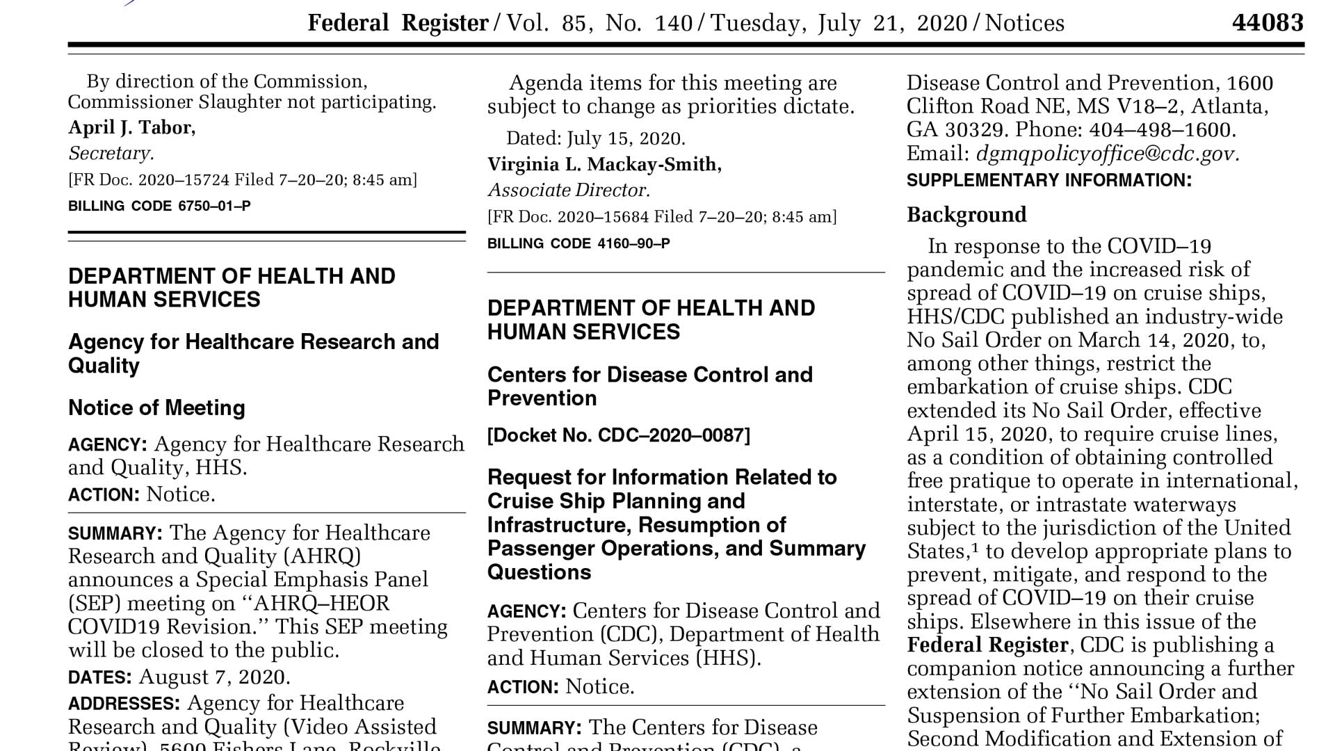 CDC Cruise Resumption Information Request US Federal Register Vol 85 No 140 20200721 Notices