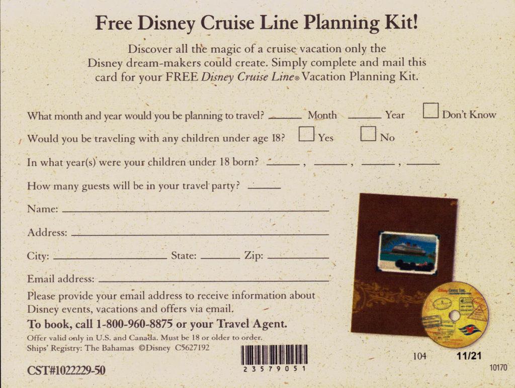DCL Castaway Club Shoreside Survival Kit Planning Kit Request Po