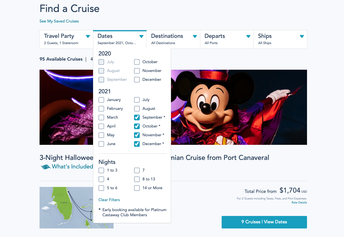 DCL Opening Day Pricing Fall 2021