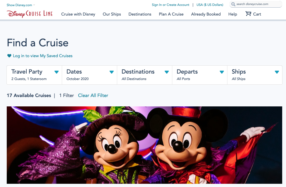 DCL Cruise Search October 2020 20200804