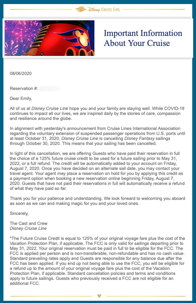 DCL Guest Email Cancelled Cruises October November 2020 20200806
