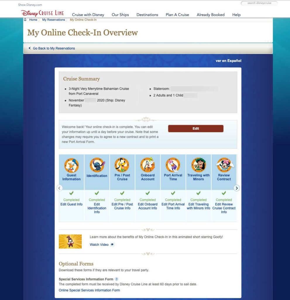 DCL Online Check In Overview 20200831