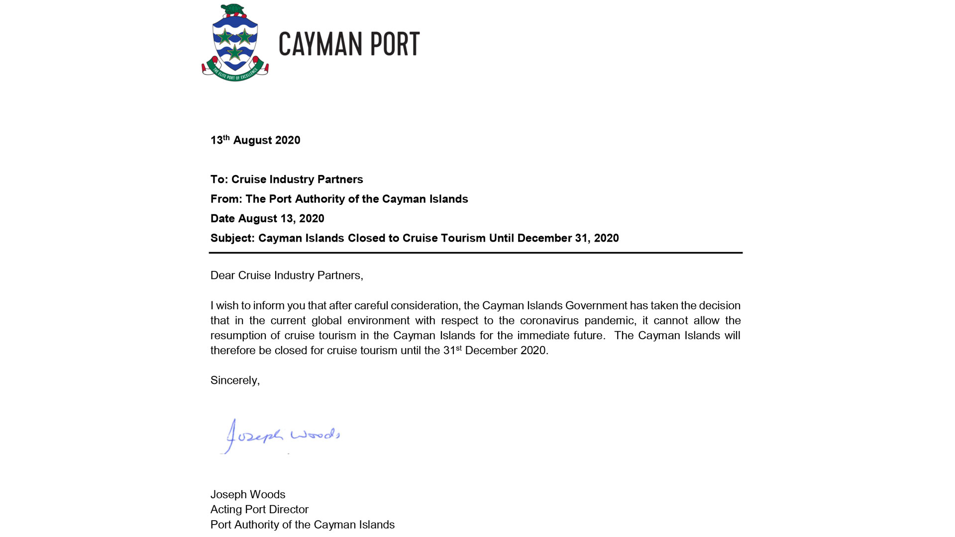 Grand Cayman Port Extended Cruise Closure Notice20200813