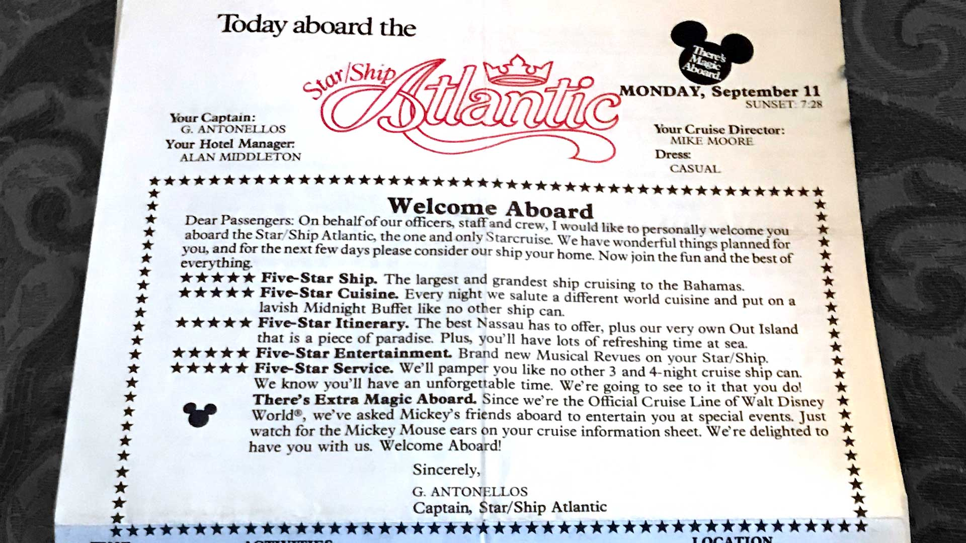 Premier Cruise Line Daily Schedule Atlantic 19890911 Welcome Aboard
