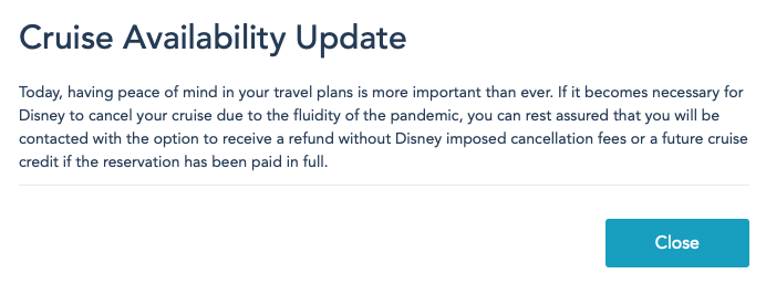 DCL Cruise Availability Update Pop Up Notice 20200925