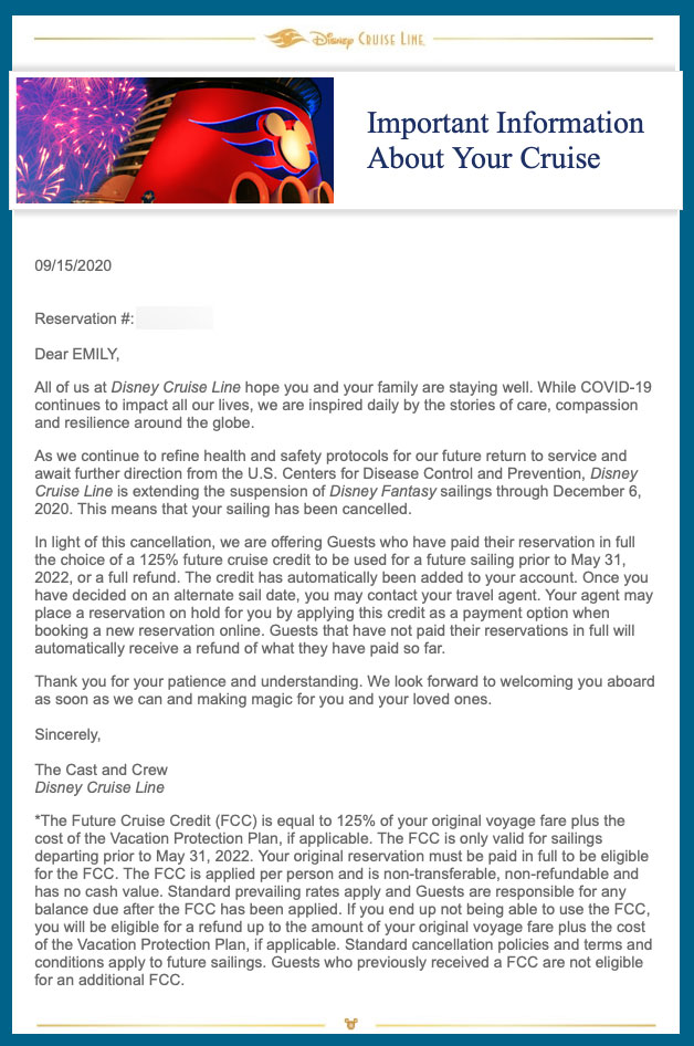 DCL Guest Email Cancelled November December 20200915