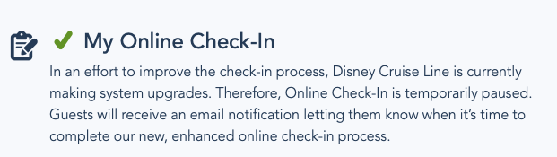DCL Online Check In Upgrade Notice