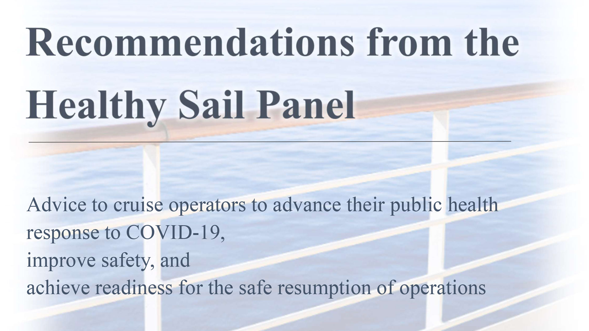 RCL NCL Healthy Sail Recommendations Report