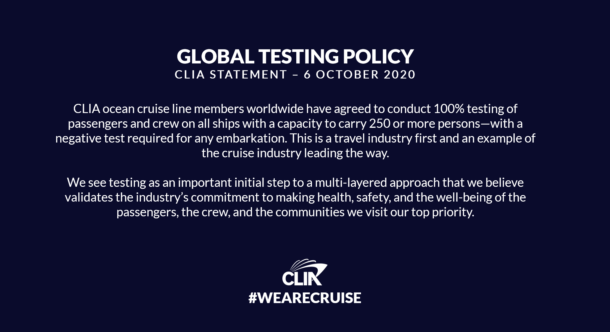 CLIA Passenger Crew Testing Statement 20201006