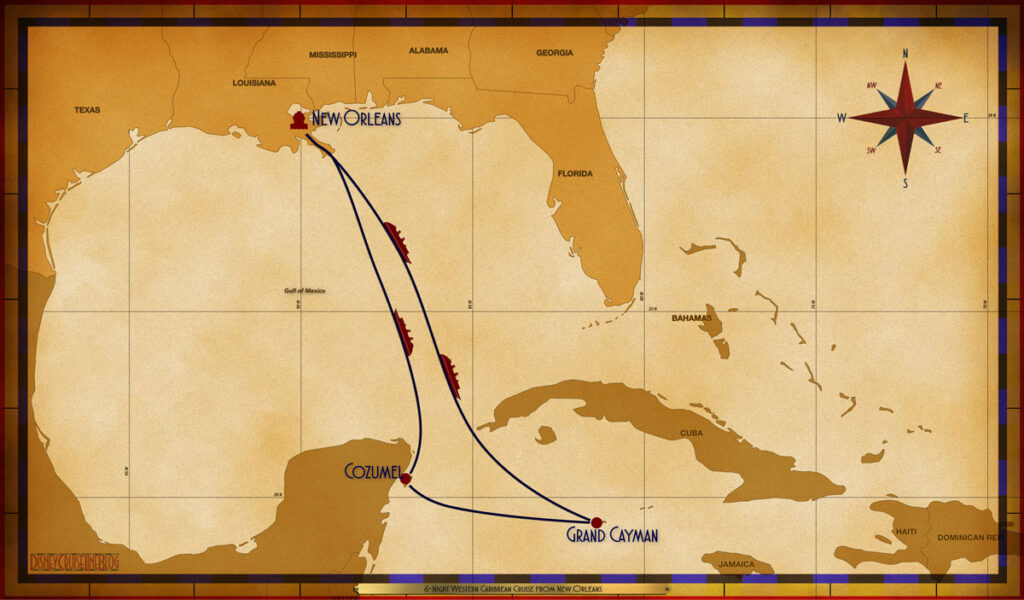 Map Wonder 6 Night Western Caribbean MSY SEA SEA GEC CZM SEA