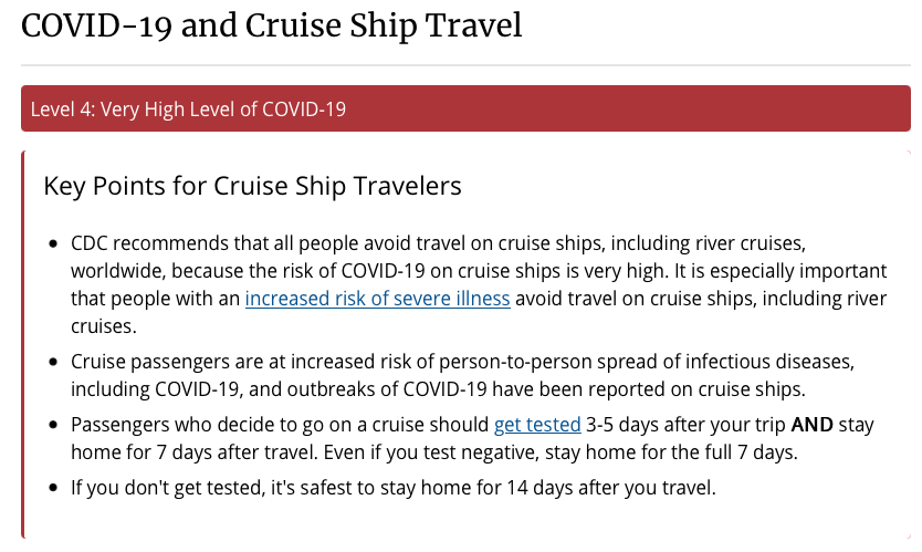 CDC Cruise Travel Notice Level 4 20201121