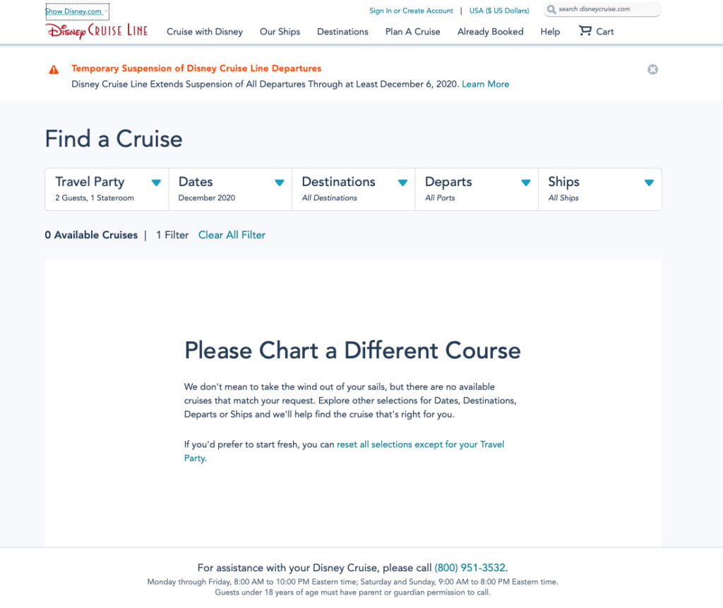 DCL December 2020 Online Booking 20201102