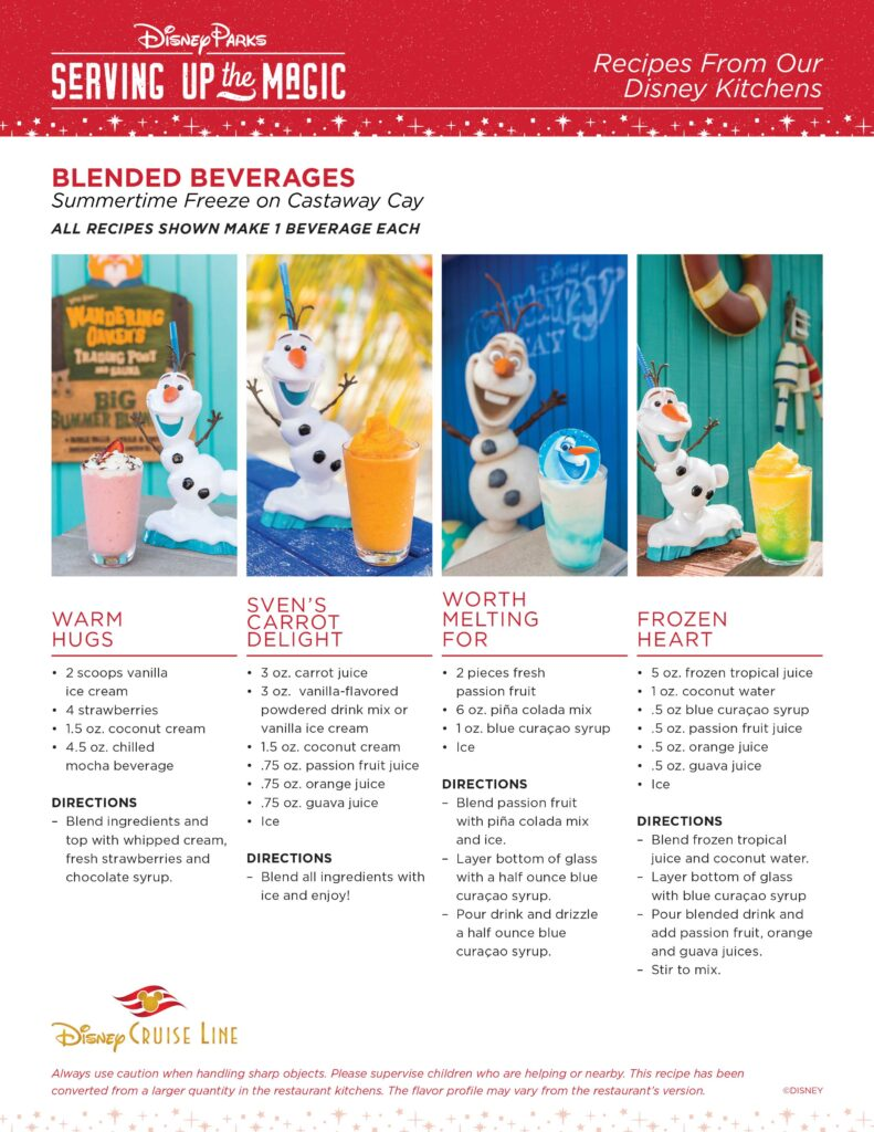 DCL Tropical Holiday Magic Beverage Recipes
