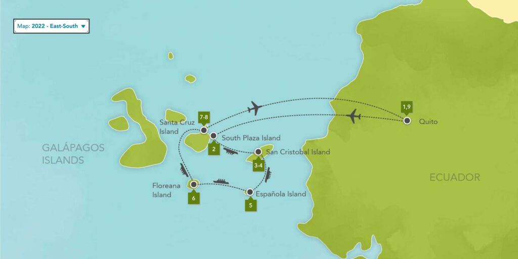 Galapagos Islands Expedition Cruise East South 2022