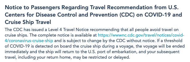 DCL Statement CDC Cruise Travel Notice Level 4 20210202