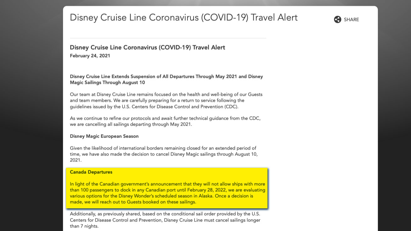 DCL Travel Alert 2021 Canadian Departures 20210224
