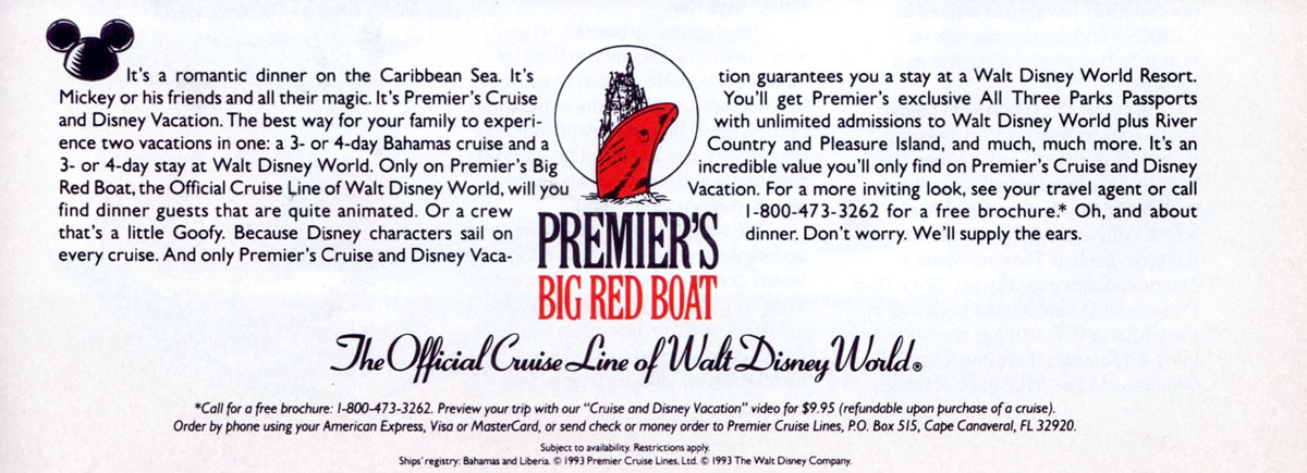 The Vault Premier S Big Red Boat Advertisement Spring 1993 The Disney Cruise Line Blog