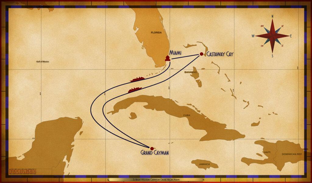 Map Dream 5 Night Western Caribbean MIA SEA GEC SEA GOC